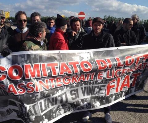 la protesta del Comitato di lotta cassintegrati